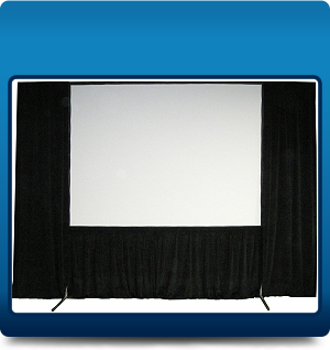 Framed screen with side drapes
